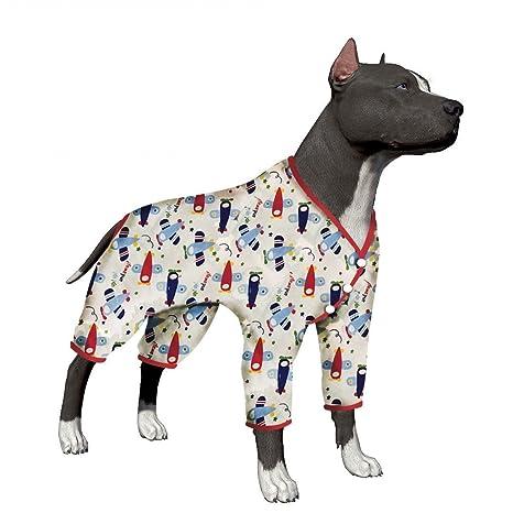 LovinPet Large Dog Clothes Dog Shirt Post Surgery Wear Cotton Airplane Big Dog Pajamas for Pitbulls
