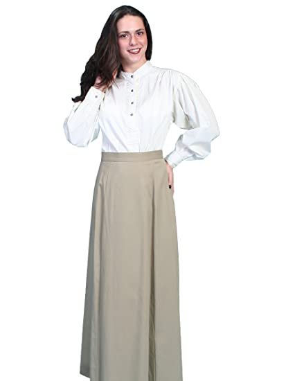 Victorian Skirts | Bustle, Walking, Edwardian Skirts Brushed Twill Skirt $65.00 AT vintagedancer.com