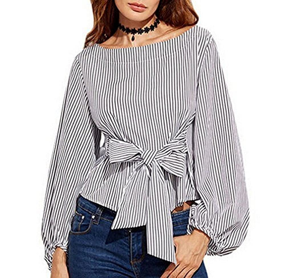 3f31cea0e53 Berser Women s Plus Size Gril Striped Off Shoulder Bowknot Blouses Ruffle  Puff Sleeve Blouse Tops at Amazon Women s Clothing store