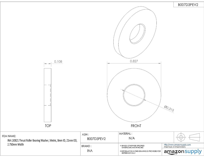 Schaeffler 48 mm ID INA 808-AW Ball Thrust Bearing Washer 69 mm OD 7 mm Width