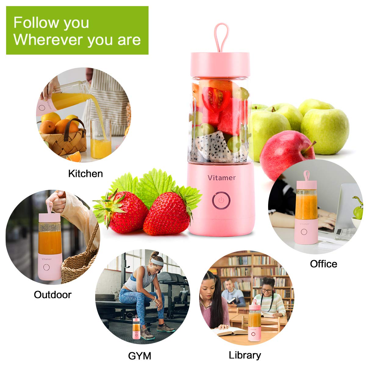 Portable Blender Personal Size Blender,Personal Juicer with USB Rechargeable,Cordless Juicer Personal Blender,Mini Mixer with Cup,Fruit Vegetable Juice Blender,Easy to Clean Fruit Juicer Suitable Travel,Home,Office(Small,BPA Free,USB,350ml,