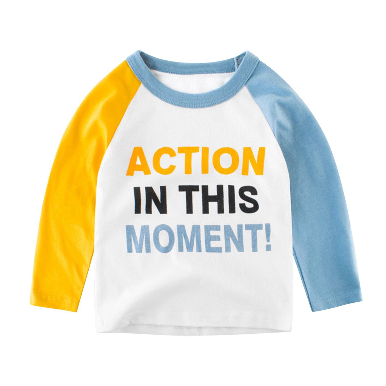 De feuilles Little Boys Dinosaur Long Sleeve Baseball T-Shirt Tops Clothing