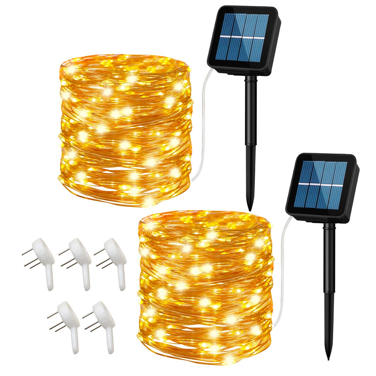 Cusomik Solar String Lights Outdoor,34ft 100 LED Copper Wire Lights,8 Modes Starry Lights, IP65 Waterproof Fairy Christmas Decorative Lights for patio,Garden,Gate,Yard,Wedding,Party 2 pack
