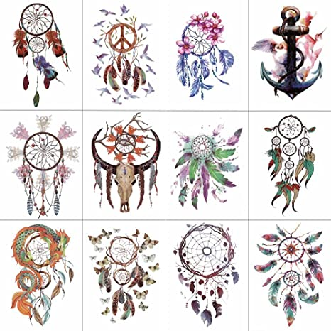 585e8e625d93 WYUEN 12 piezas lote atrapasueños ancla temporaria tatuaje adhesivo para  mujeres hombres cuerpo arte impermeable