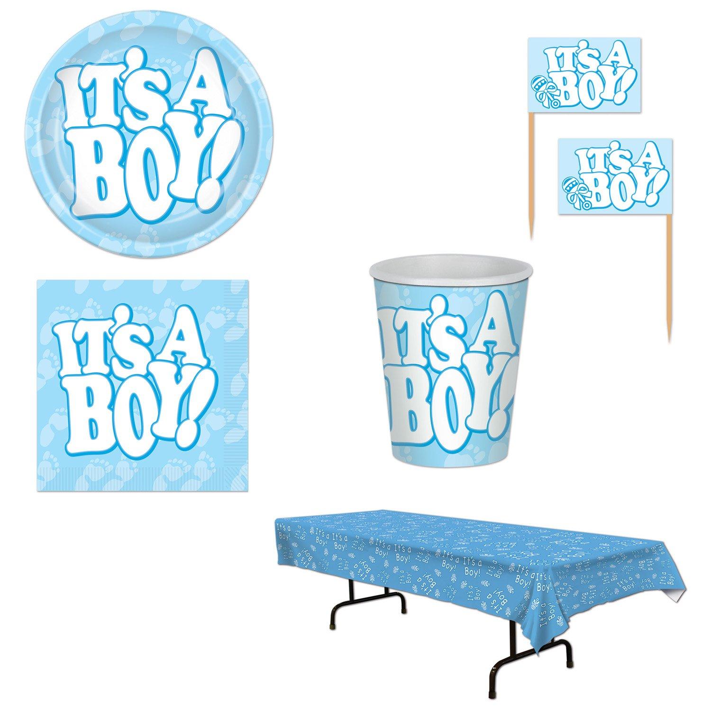 Baby Shower Boy 99 Piece Bundle Set Cupcake Picks Cups Plates Napkins Table Cover