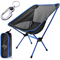 AUSELECT Camping Chair, Folding Chair Lightweight & Heavy Duty 140kg Capacity with Carry Bag for Beach, Hiking, Black…