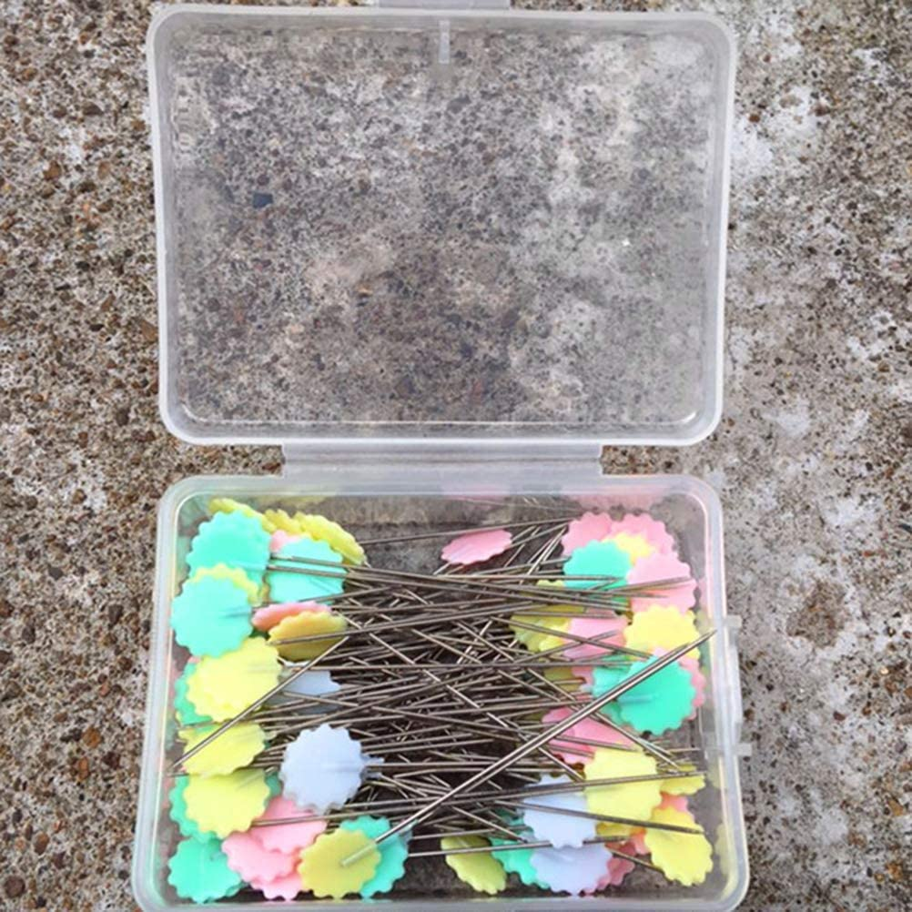 200pcs Mixed Assorted Colors Flat Head Pins Boxed for Sewing DIY Projects Artibetter Flower Head Pins