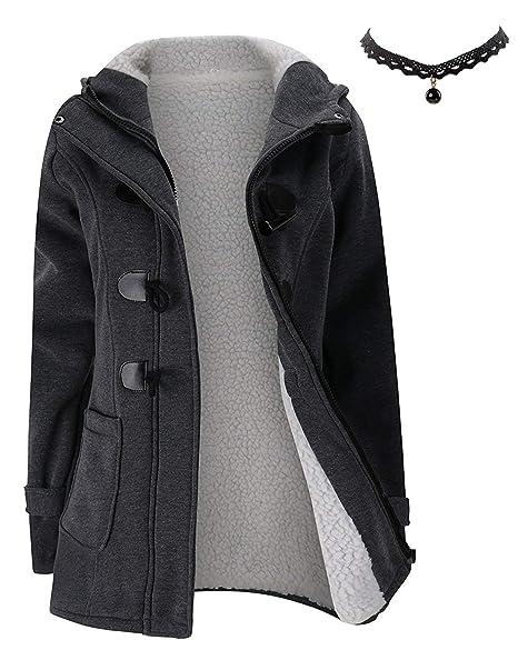 M-Queen Mujer Sudaderas con capucha con Horn botones Abrigo Chaqueta Hoodie Pullover Sweater Suéter Suelta Invierno: Amazon.es: Ropa y accesorios