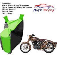 Auto Pearl - 100% Water Proof PVC Matty Neon Green & Blue Bike Body Cover with Mirror Pockets, Buckle Belt, Carry Bag - Royal Enfield Classic 350