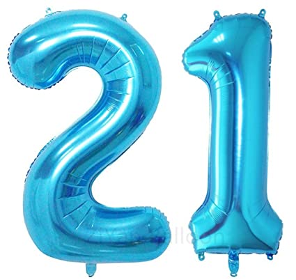 Amazon ZIYAN 40 Inch Giant 21th Blue Number BalloonsBirthday Party Balloons Toys Games