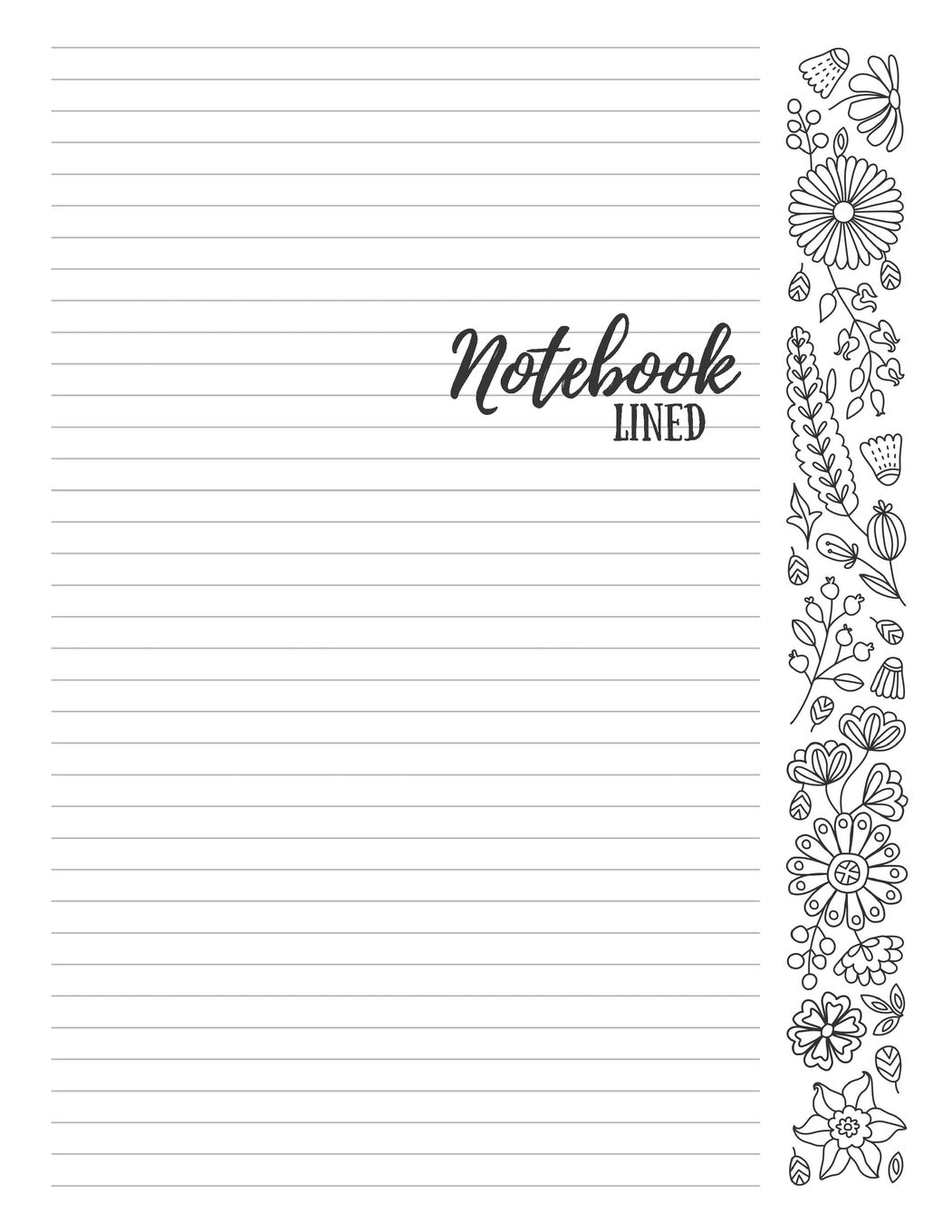Notebook: 8 5x11 College Ruled Journal with Adult Coloring Flowers
