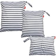 Damero 3pcs Travel Wet and Dry Bag with Handle for Cloth Diaper, Pumping Parts, Clothes, Swimsuit and More, Easy to Grab and Go, Gray Strips