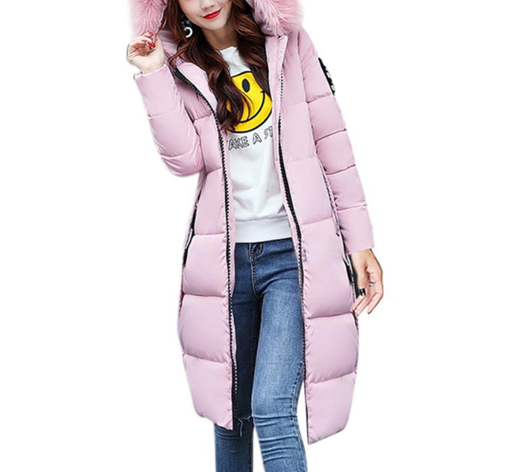 BSGSH Women's Down Coat with Faux Fur Hood Long Warm Down Parka Puffer Jacket (Pink, M)