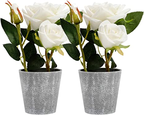 Amazon Com Azoco Set Of 2 Artificial Flowers With Vase Fake Flowers In Pot Silk Flower Arrangement Decorative For Home Farmhouse Office Table Centerpieces Wedding Party Indoor Decor Furniture Decor