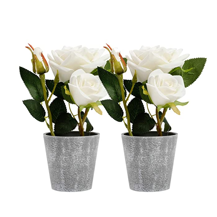 Azoco Set of 2 Artificial Flowers with Vase, Fake Flowers in Pot Silk Flower Arrangement Decorative for Home Farmhouse Office Table Centerpieces Wedding Party Indoor Decor