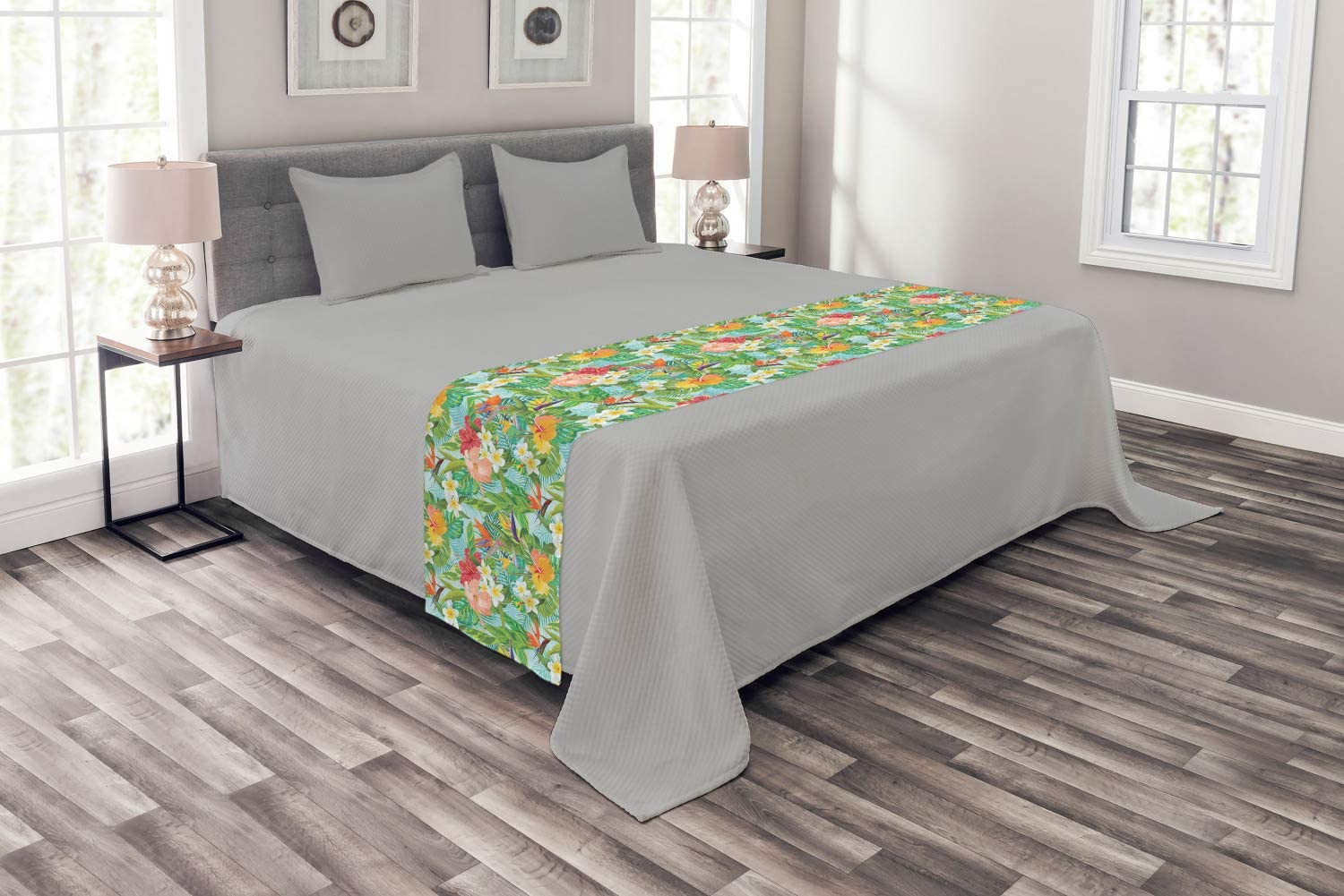 Vintage Cartoon Style Image of Hawaiian Flowers Crepe Gingers Fern Green Baby Blue Lunarable Leaf Bed Runner Decorative Accent Bedding Scarf for Hotels Homes and Guestrooms