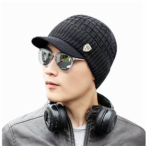Bluestercool Berretto Invernale Uomo Con Visiera Cappelli Uomo Cotone  Eleganti 1d00296f4745