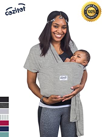 Amazon Com Heather Grey Baby Sling Carrier Wrap By Cozitot Soft
