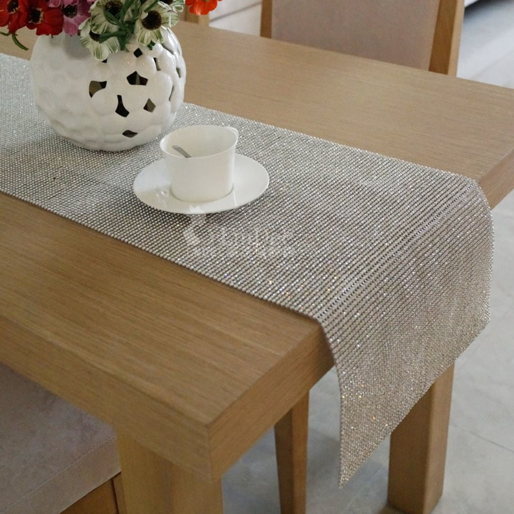 ZQ STORE Table flag sparkling metal table flag,Coffee table cover-A 40x150cm(16x59inch)