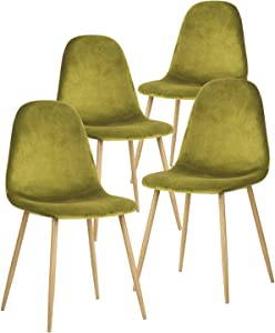 GreenForest Dining Chairs for Kitchen, Mid Century Modern Side Chairs,Velvet Upholstered Dining Chair with Metal Legs Set of 4,Lime Green
