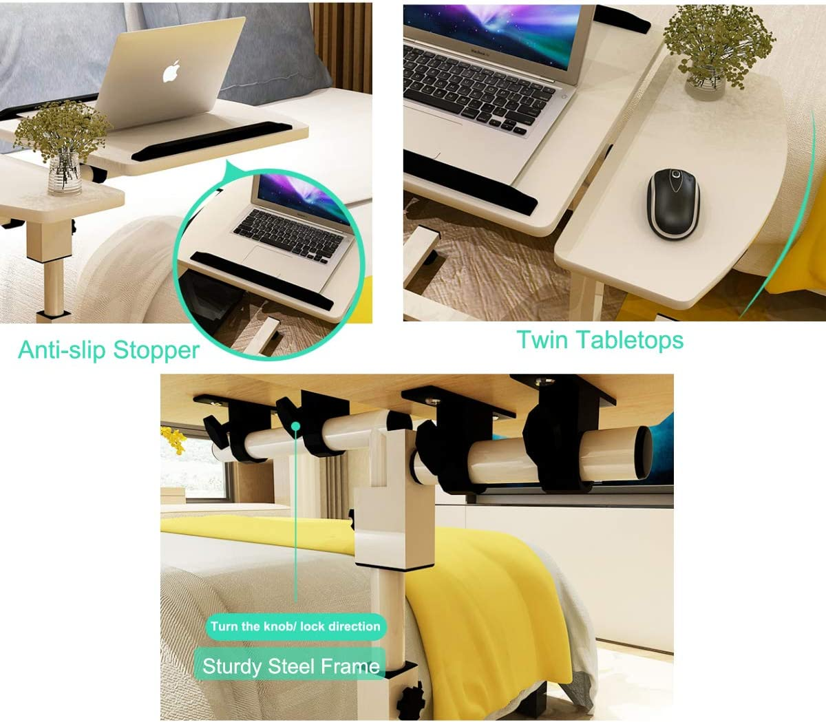 carrello per postazione di lavoro Tavolino doppio da letto inclinabile vassoio per TV regolabile in altezza letto comodino mobile per PC con mouse e supporto per scrivania robusto per divano