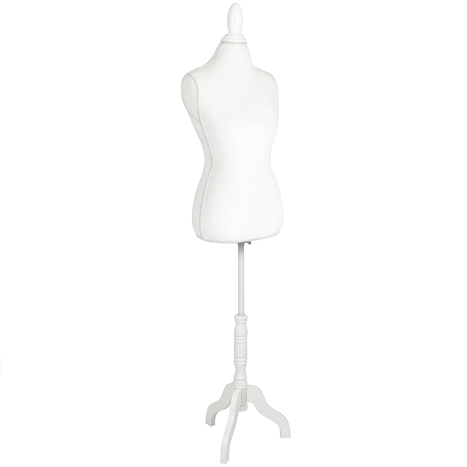 Best Choice Products Female Mannequin Torso Display w/Wooden Tripod Stand, Adjustable Height - White