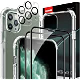 AsBellt for iPhone 11 Pro Max Tempered Glass Screen Protector [2 Pack]+ Camera Lens Protector[2 Pack]+ Clear Case [1 Pack] Ca