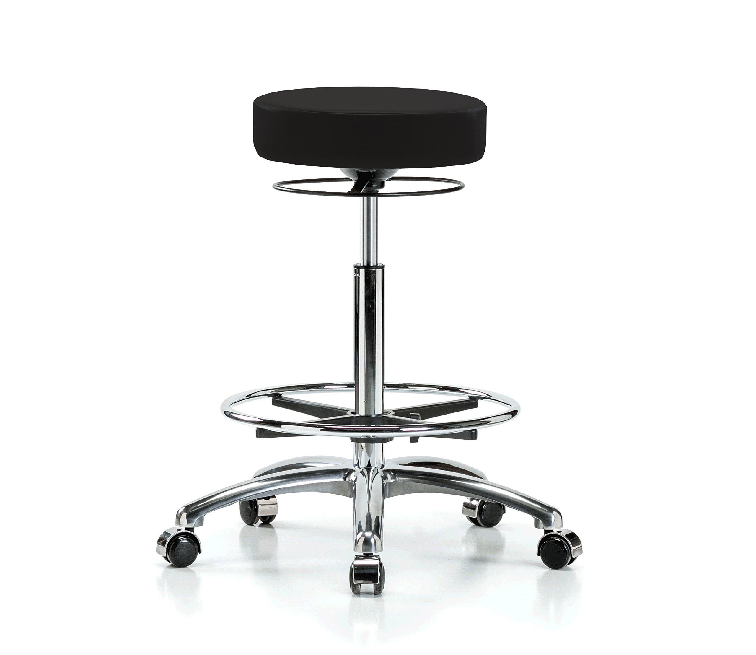Perch Chrome Stella Rolling Adjustable Stool with Footring Medical Salon Spa Massage Tattoo Office 25'' - 35'' (Hard Floor Casters/Black Vinyl)