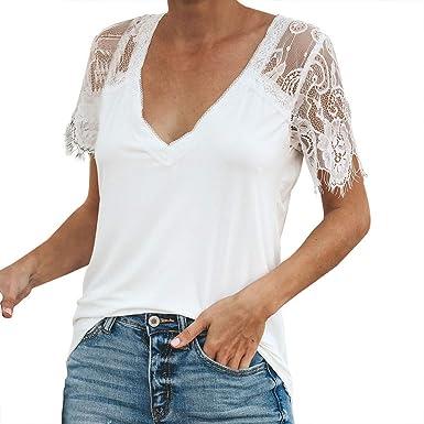 AIMEE7 Ropa Mujer Camiseta costra de Encaje Color sólido ...