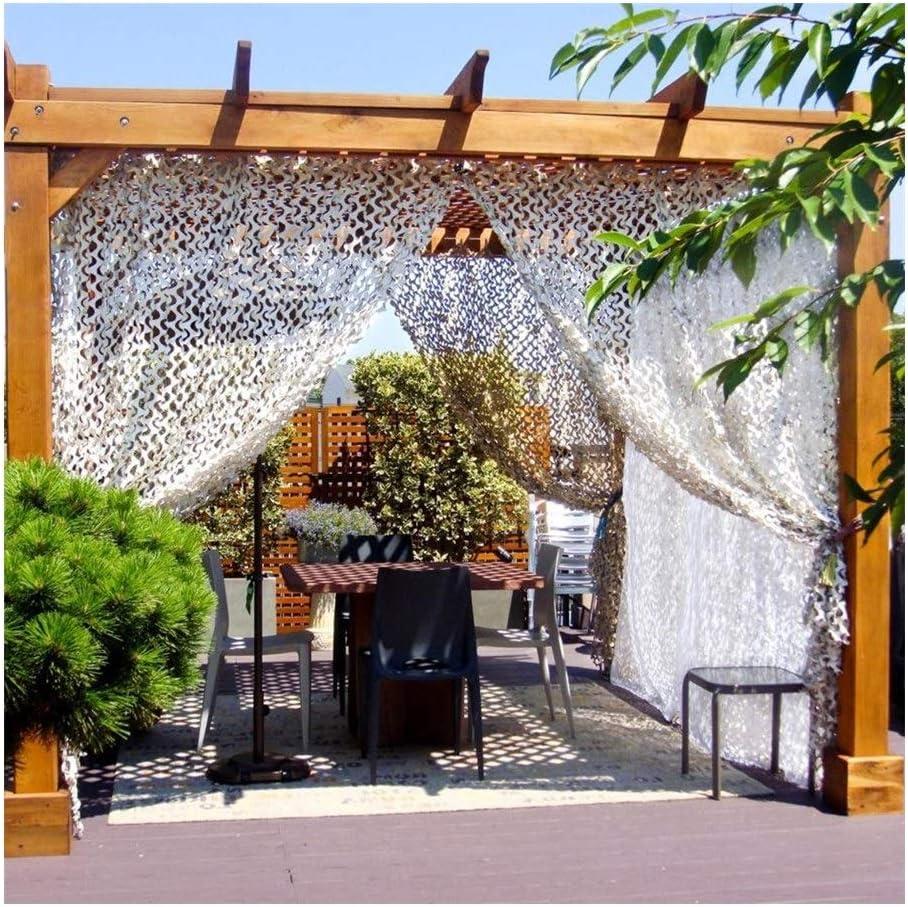 LSXIAO مظلة شمسية تمويه شبكة الخصوصية خيمة التخييم 210D قماش أكسفورد مضاد للأشعة فوق البنفسجية مقاوم للطقس كغطاء السيارة، مشاهدة الطيور، ديكور المنزل أو الحفلات (اللون: أبيض، الحجم: 3 × 6 م)