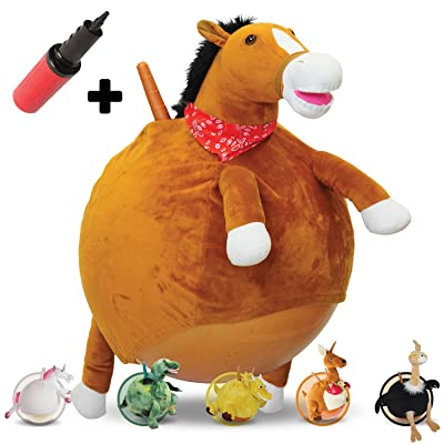 WALIKI TOYS Mr Jones: Small Plush Horse Hop Ball Hopper (Ages 3-5) Hopping Sit and Bounce with Handles
