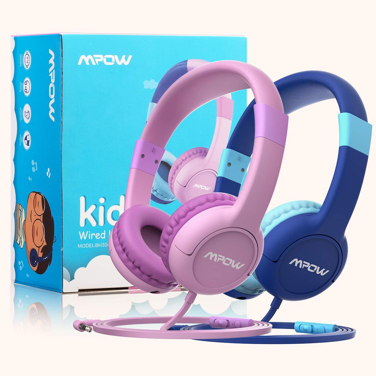 2X Mpow Kinder Kopfhörer 3.5mm Headset Ohrhörer Mikrofon On-Ear Musik-Sharing DE