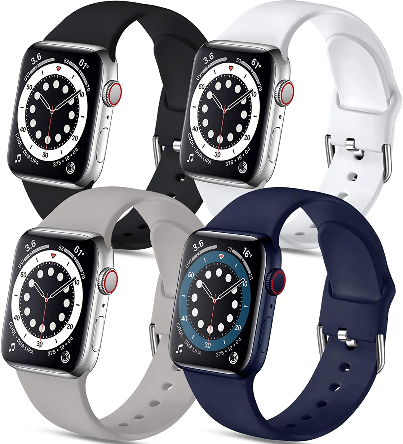 Muranne 4 Pack Sport Bands Compatible with Apple Watch Band 44mm 42mm iWatch SE & Series 6 & Series 5 4 3 2 1 for Women Men, Black Gray Midnight Blue White, M/L