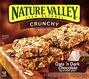 Nature Valley, Crunchy Oats'n Dark Chocolate Granola Bars, 8.94oz Box (Pack of 4)