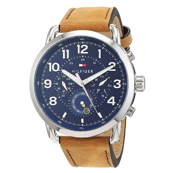 Tommy Hilfiger Reloj Multiesfera para Hombre de Cuarzo con Correa en Cuero 1791424: Amazon.es: Relojes