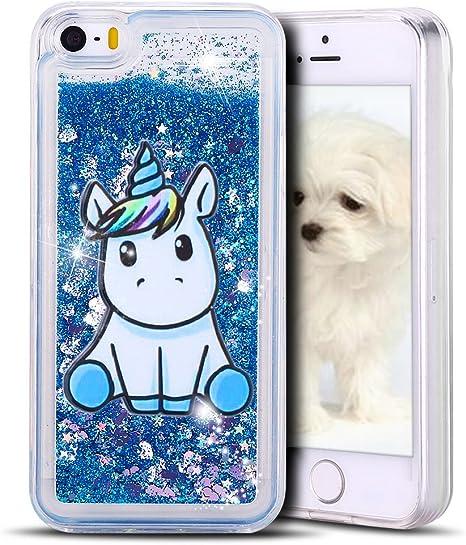 MoEvn Cover iPhone 5S, Custodia iPhone Unicorno 3D Glitter Liquido Trasparente Sabbie Mobili Morbida TPU Silicone Bling Antiurto Protezione Case per ...