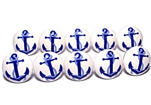Kaizen Casa Furniture Knob Blue Anchor On White Ceramic Nautical Drawer Pulls/Ceramic Cabinet Knobs/Anchor with Rope Set of 10