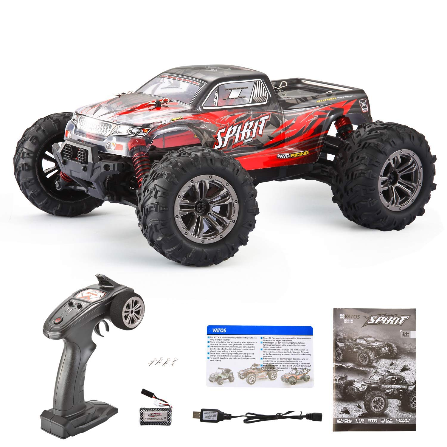VATOS Remote Control Car High Speed Off-Road Vehicle 1:16 Scale 36km/h 4WD 2.4GHz Electric Racing Car RC Buggy Vehicle Truck Buggy Crawler Toy Car for Adults and Kids by VATOS (Image #9)
