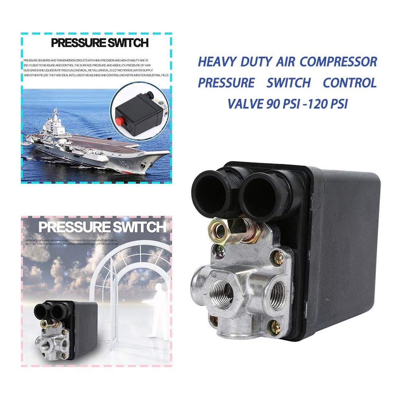 120 PSI MEXCO Heavy Duty 240V 16A Auto Control Auto Load//Unload Air Compressor Pressure Switch Control Valve 90 PSI