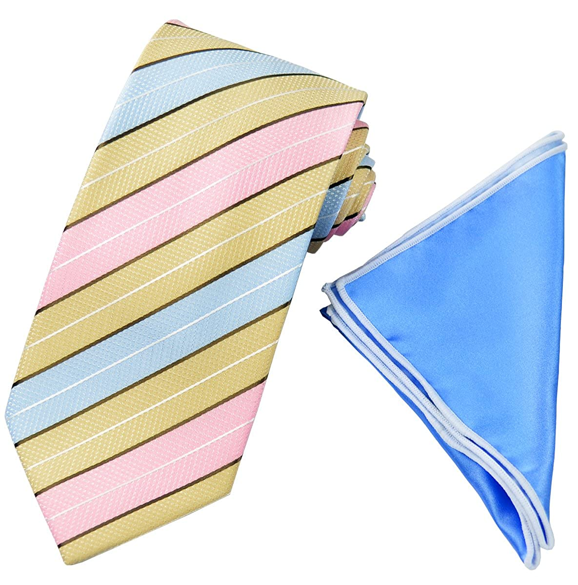 Beige and Blue Mens Tie with Contrast Pocket Square Set Pink