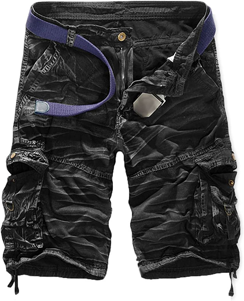 FOURSTEEDS Womens Casual Loose Fit Multi-Pocket Camouflage Twill Bermuda Cargo Shorts with Belt