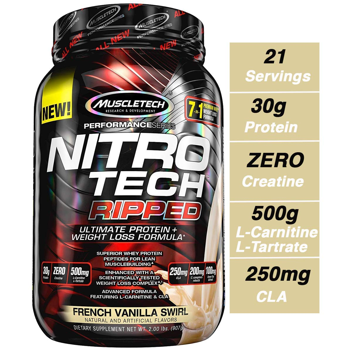 MuscleTech Nitro Tech Ripped Ultra Clean Whey Protein Isolate Powder + Weight Loss Formula, Low Sugar, Low Carb, French Vanilla Swirl, 2 Pounds by MuscleTech