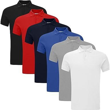 03c8c1f1b New Pack of 4 Mens Polo Shirt Short Sleeve Plain Pique Top Designer Tshirt  Tee  Amazon.co.uk  Clothing