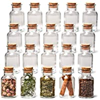 EZOWare Clear Glass Bottle Jar Set with Cork Lid, 20 Piece Round Decorative Reusable Vial Storage Containers for Spices…