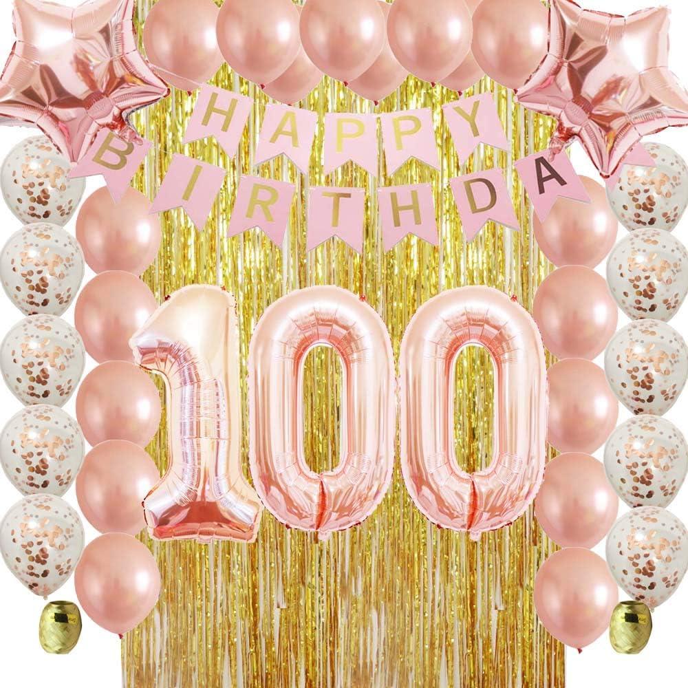 12pk Pink Sparkling Celebration 100th Birthday Party Swirl Decorations