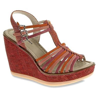 Women's sandals / CORES QTR STRAP white/multi wedge - hush+puppies