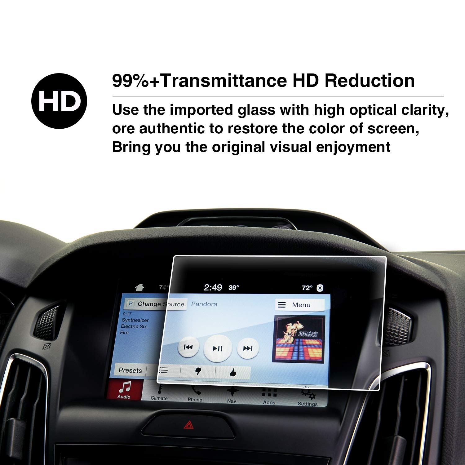 YEE PIN 2015 2016 2017 2018 Ford Focus Sync 2 Sync 3 App Link My Ford 8 Inch Car Display Fully Protects Tempered Glass HXY