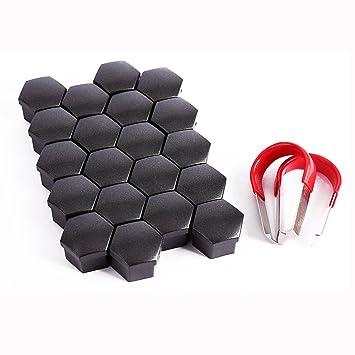 surepromise Embellecedores de Rosca hexagonales (20 Unidades, 17 mm) para Tornillos de Llantas de neumáticos, con Herramienta de extracción Universal: ...