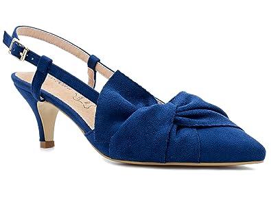 2a95a20b1707a8 Greatonu Klassische Damen Pumps Abendschuhe Schleifen Brautschuhe Sandalen  Blau Größe 36 EU
