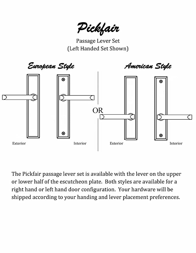 Pickfair By FPL  Solid Brass Passage Lever Set For Left Hand Door, Polished  Chrome     Amazon.com